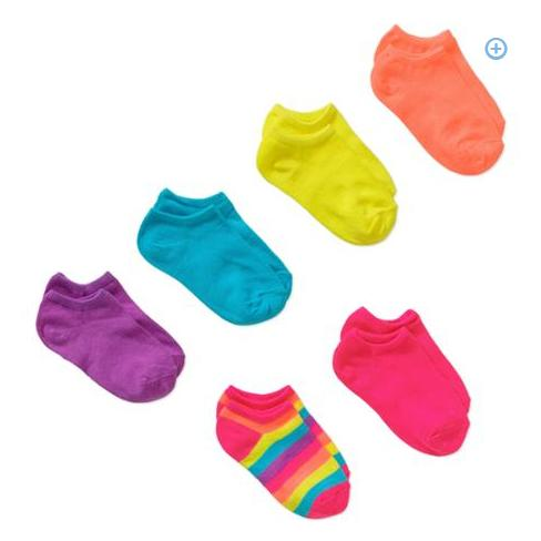 $2.00 Faded Glory Girls' 6 Pack No Show Solids