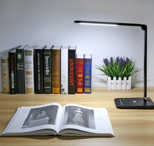 LE® Dimmable LED Desk Lamp, 7 Dimming Levels, Eye-care, 8W, Touch Sensitive, Daylight White, Folding Desk Lamps, Reading Lamps, Bedroom Lamps (Black)