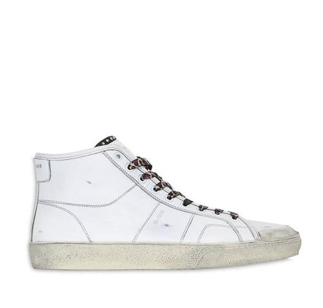SAINT LAURENT  COURT CLASSIC SURF LEATHER SNEAKERS @ Luisaviaroma