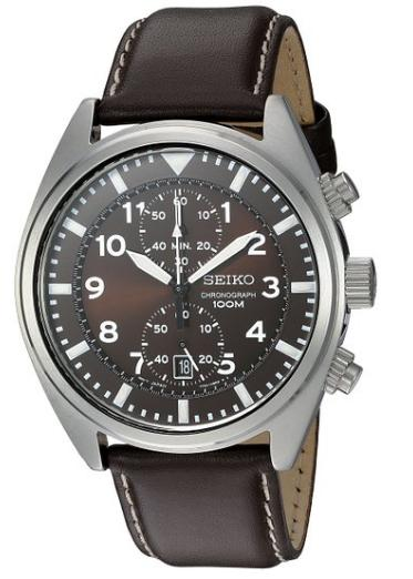 $60.99 Seiko Men's SNN241 Stainless Steel Watch with Brown Leather Band