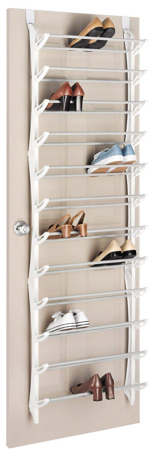Whitmor 6486-1746-WHT Over-The-Door Shoe Rack, 36-Pair