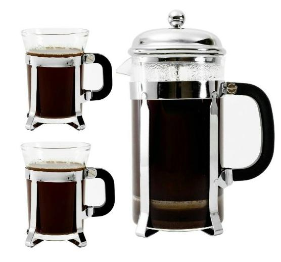$14.83 Bruntmor, Premium 34 Oz French Press set 2 mugs 7oz Double Filter Borosilicate Heat Resistant Glass