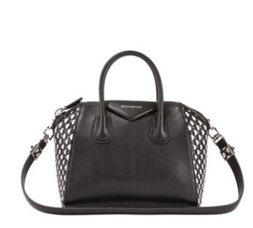 Givenchy	Antigona Woven Leather Satchel Bag, Black/White @ Bergdorf Goodman