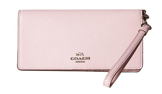 COACH Polished Pebble Leather Slim Wallet