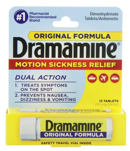 $4.74 Dramamine Motion Sickness Relief Original Formula, 50 mg, 12 Count