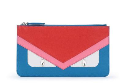 Fendi Monster Eye Colorblock Leather Pouch Bag, Blue @ Neiman Marcus