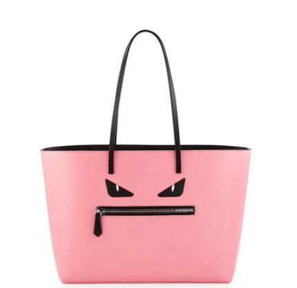Fendi Monster Medium Roll Tote Bag, Pink @ Neiman Marcus