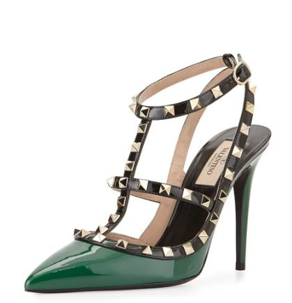 Valentino Rockstud Patent Leather Pump, Emerald Colorblock @ Neiman Marcus