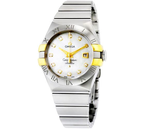 OMEGA Constellation White Mother of Pearl Diamond Steel and 18K Yellow Gold Ladies Watch