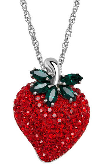 Strawberry Pendant with Swarovski Crystals