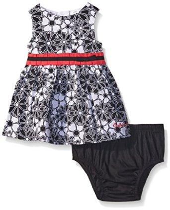 Calvin Klein Baby-Girls Printed Peached Poplin Dress and Panty, Black/White