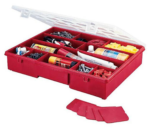 """Stack-On 14-1/2"""" 17 Compartment Storage Box (Red)"""