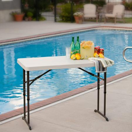 Lifetime 4' Adjustable Folding Table, White Granite