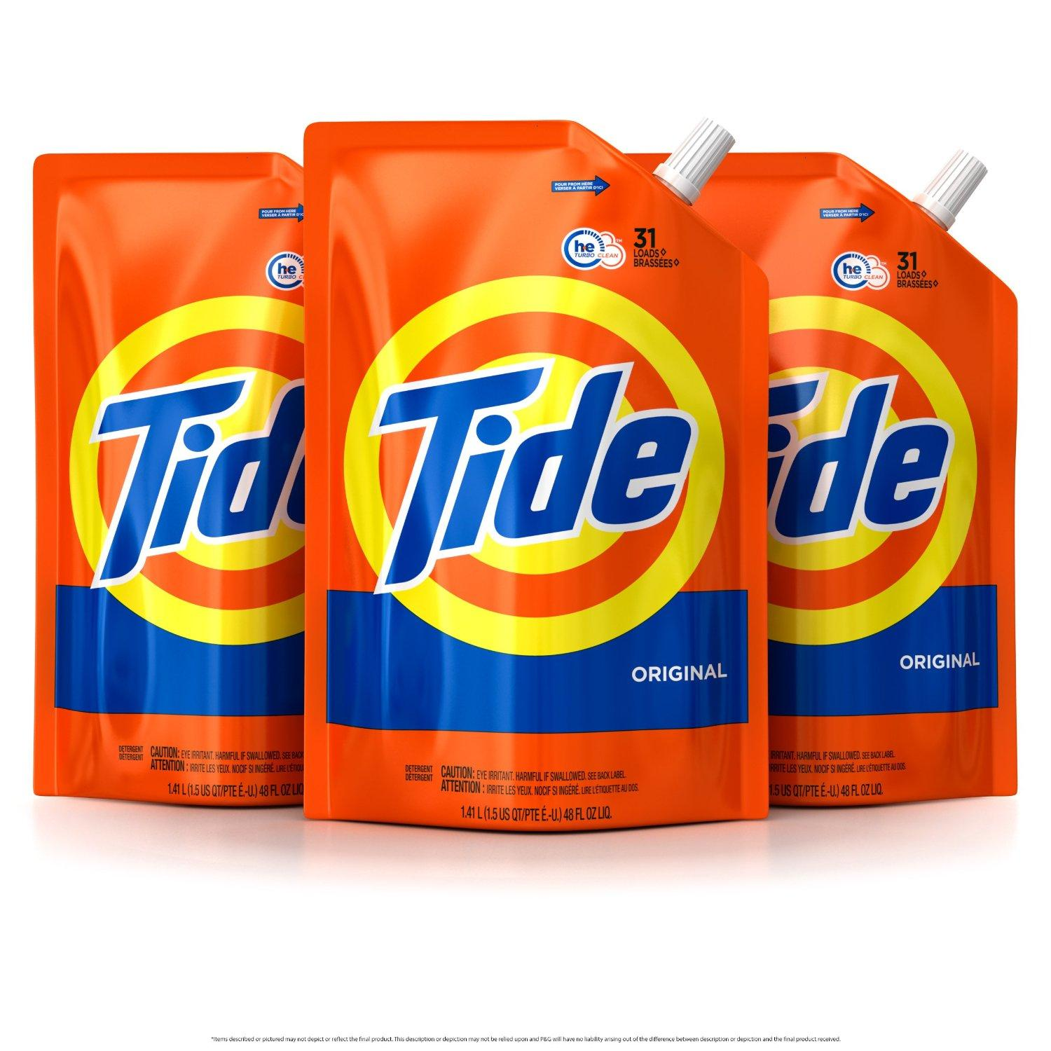 Tide Smart Pouch Original Scent HE Turbo Clean Liquid Laundry Detergent, Pack of three 48 oz