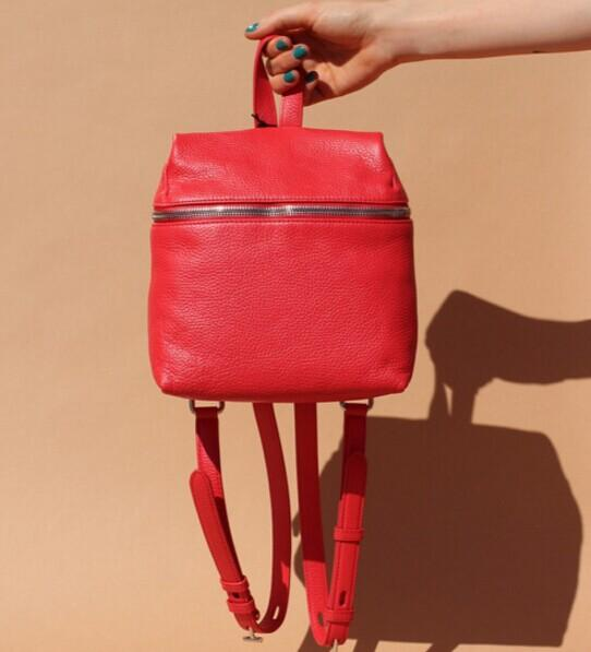 $308 Kara  Red Pebbled Leather Small Backpack  @ SSENSE