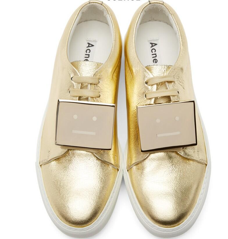 Acne Studios  Gold Leather Adriana Sneakers  @ SSENSE