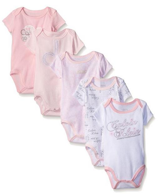 From $8.57 Calvin Klein Baby-Girls 5 Pack Bodysuit Printed and Solid
