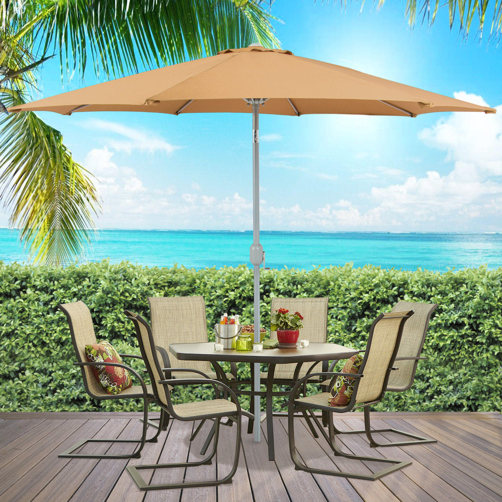 Patio Umbrella 9' Aluminum Patio Market Umbrella Tilt W/ Crank Outdoor