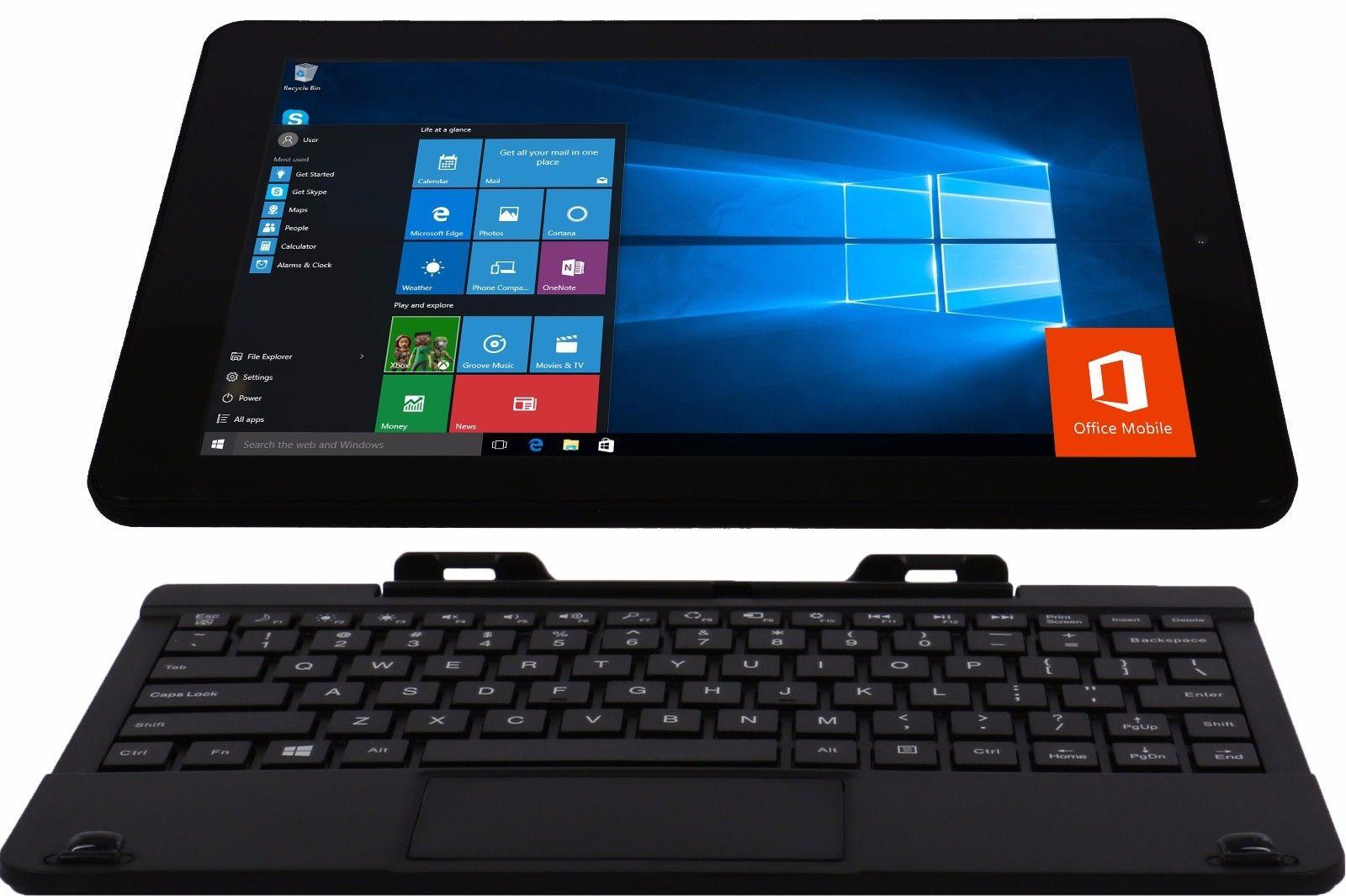 """$89.99 New RCA 10.1"""" 2-in-1 Tablet + Kbd Win 10 1.83GHz Quad Core 32GB 2GB RAM + OFFICE"""