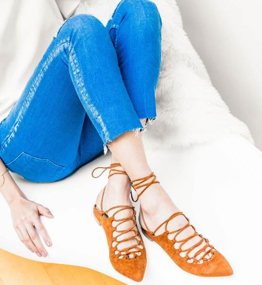 STUART WEITZMAN Lace-up suede point-toe flats On Sale @ Net-A-Porter