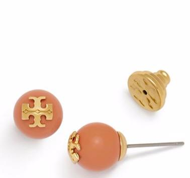 CRYSTAL-PEARL CORAL STUD @ Tory Burch