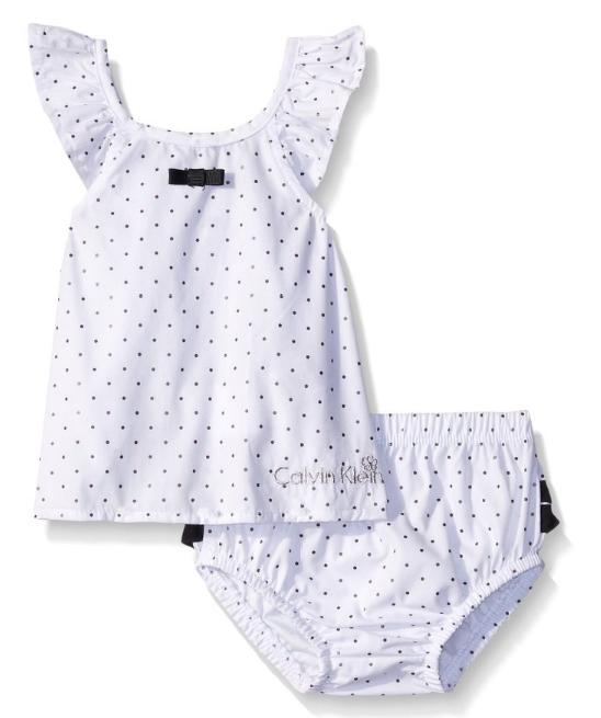 Calvin Klein Baby-Girls Printed Foil Black/White Top with Panty