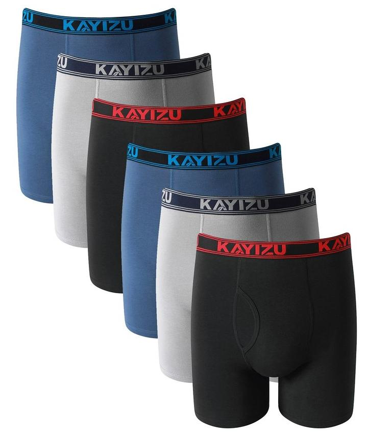 Men's Underwear, KAYIZU Brand Ultimate Soft Cotton Boxer Brief (6-Pack)