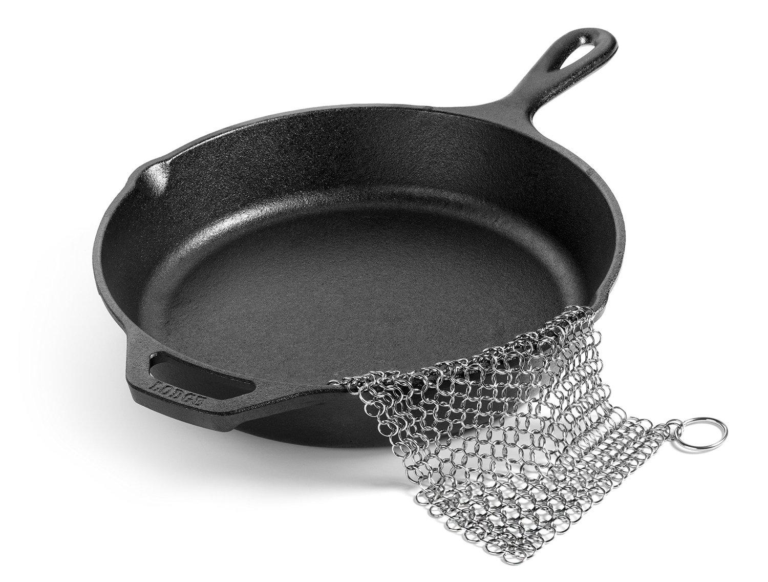 Hudson Essentials Cast Iron Cleaner XL 7x7 Premium Stainless Steel Chainmail Scrubber