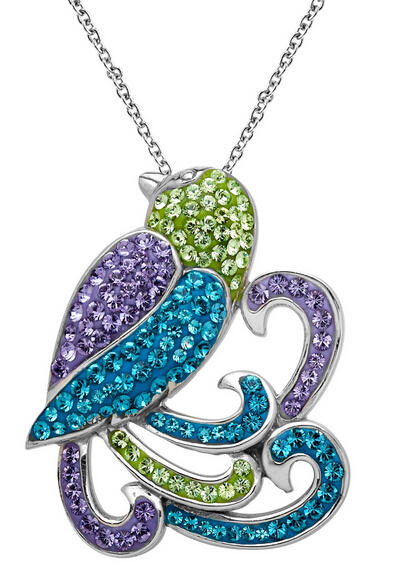 Parrot Pendant With Swarovski Crystals