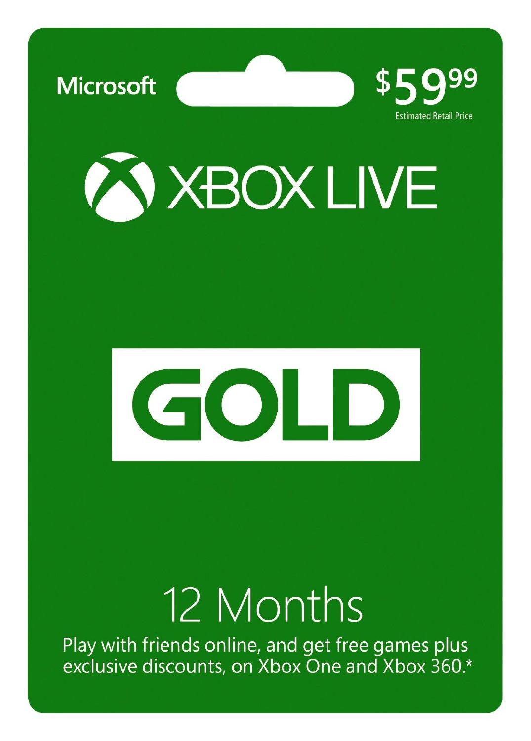 $32.99 Microsoft Xbox LIVE 12 Month Gold Membership Card for Xbox 360 / XBOX ONE
