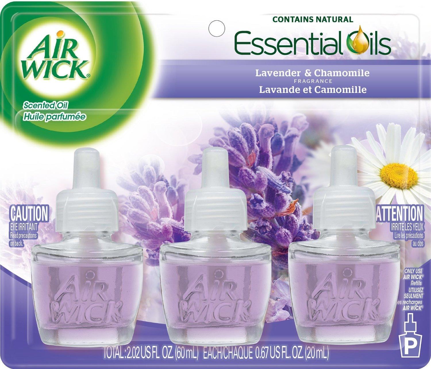 Air Wick Scented Oil Air Freshener, Lavender and Chamomile, 3 Refills