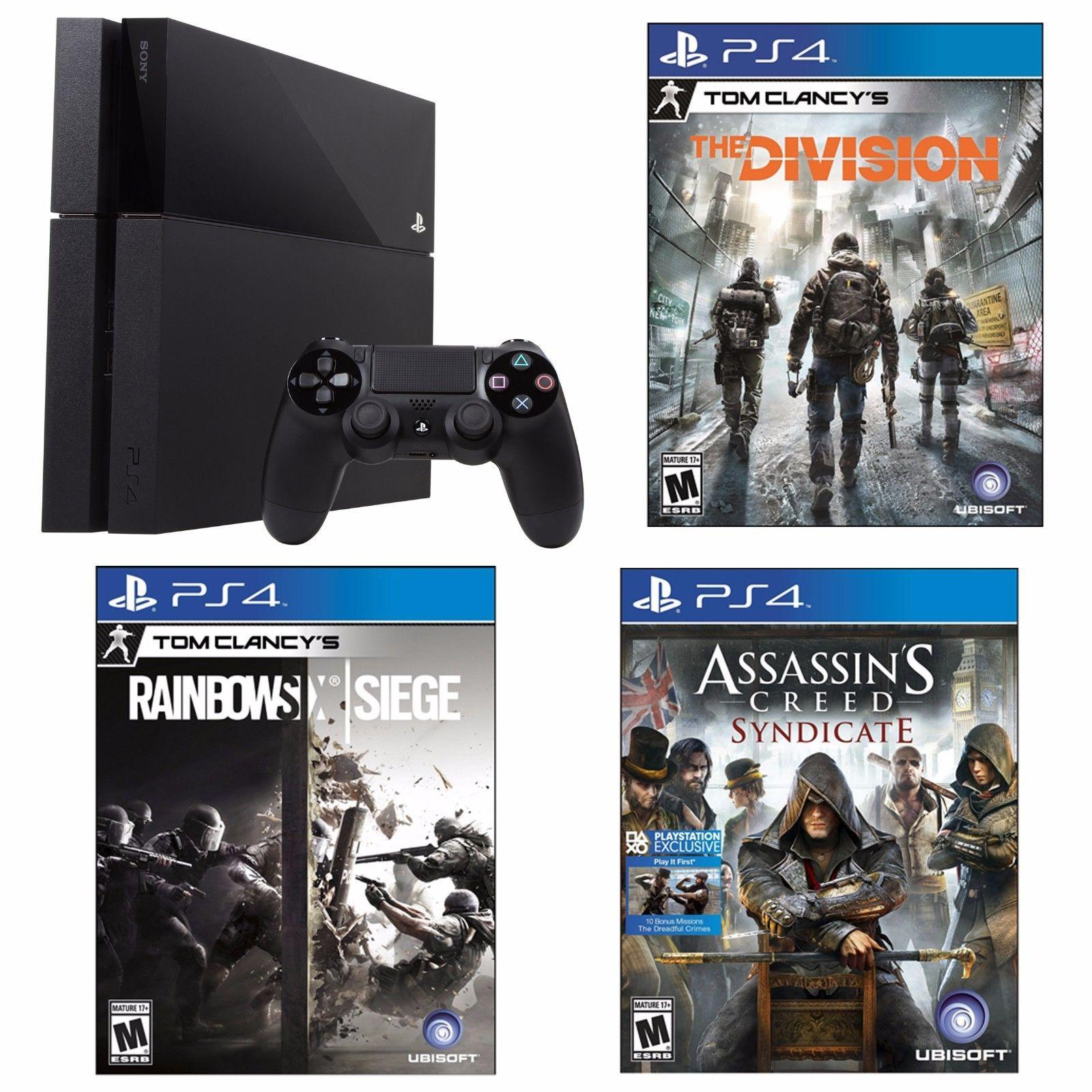 $389 Free Shipping PlayStation 4 500GB Console+Tom Clancy's Division+AC Syndicate+Rainbow Six Siege Bundle