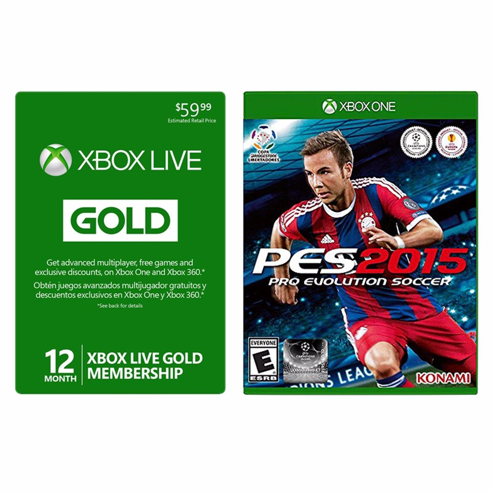 $39.99 Microsoft Xbox LIVE 12 Month Gold Membership Card + Pro Evolution Soccer 2015