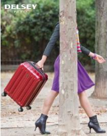 $60.79 Delsey Luggage Helium Titanium Carry-On EXP Spinner Trolley Red