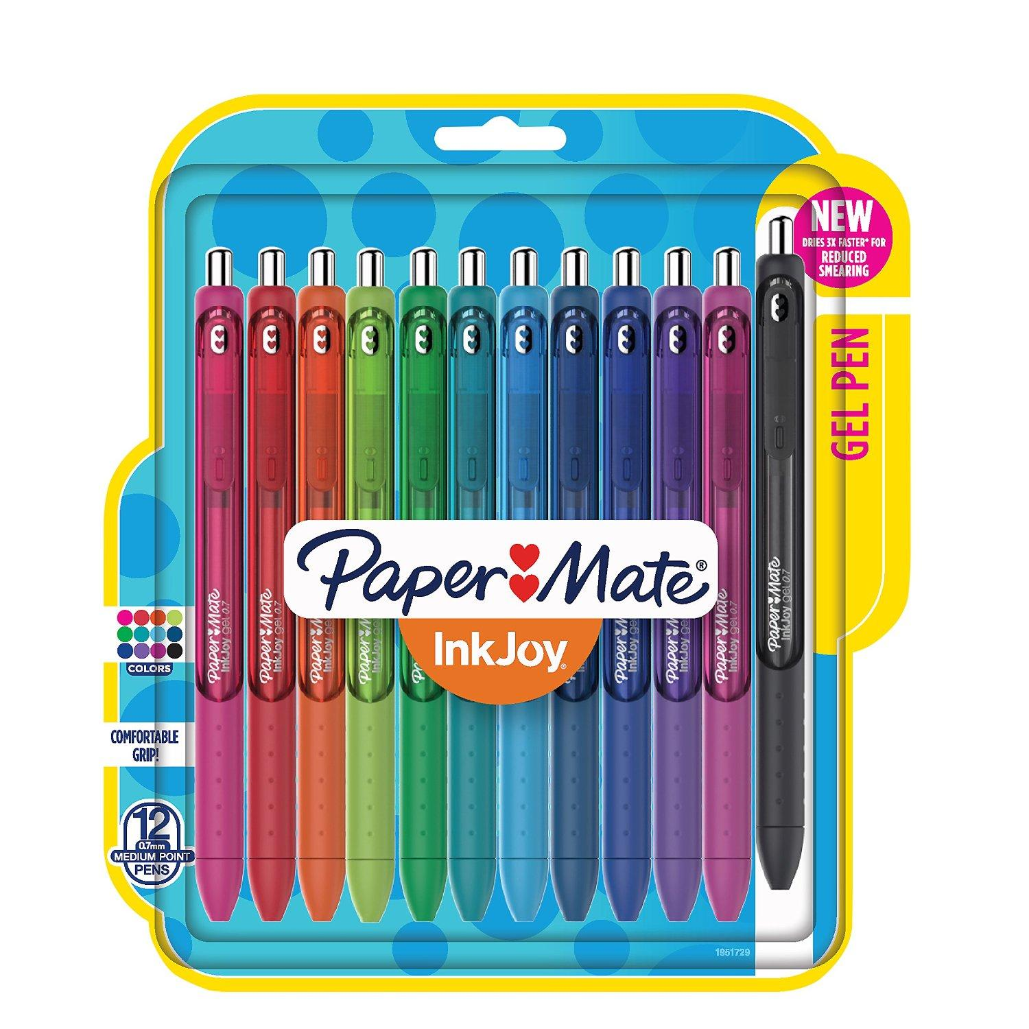Paper Mate Inkjoy Gel Pens, Medium Point, Assorted, 12-Pack