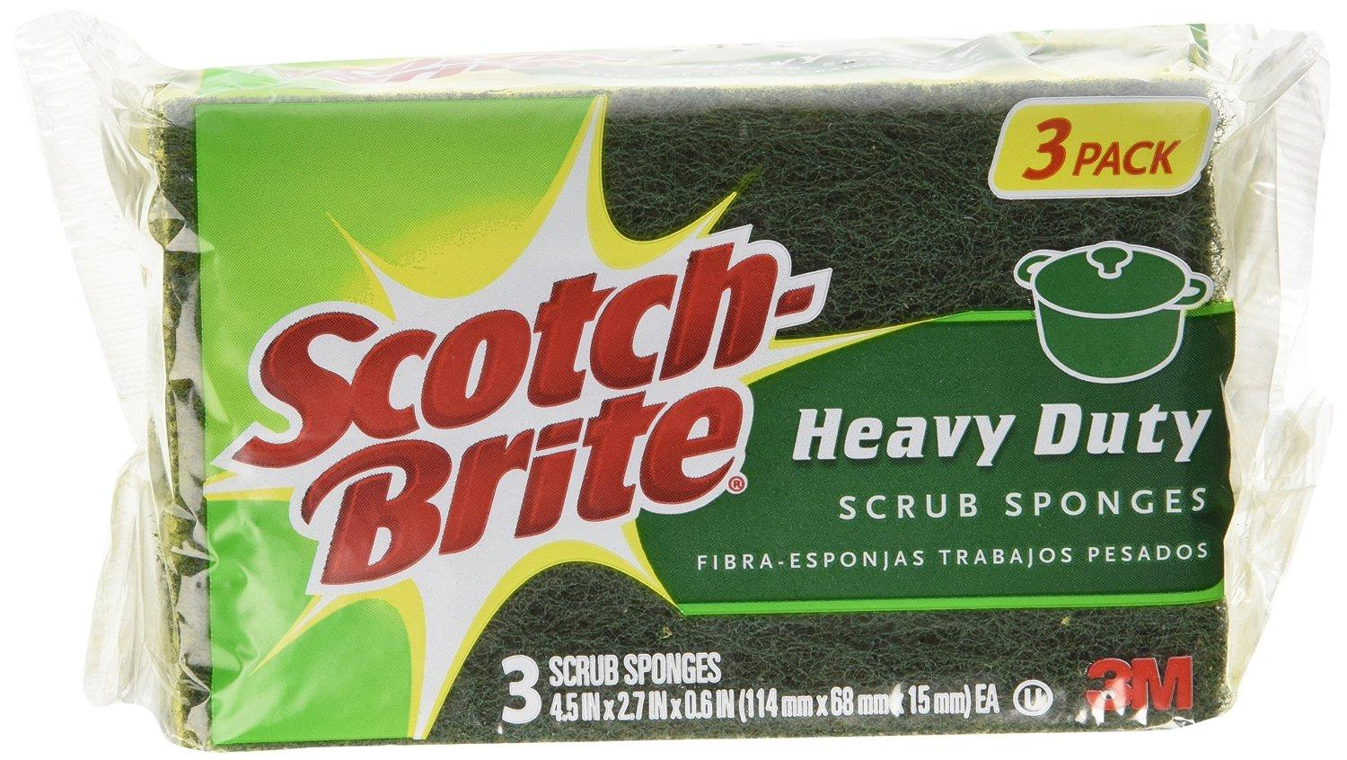 Scotch-Brite Scrub Sponge, Heavy Duty, 3-Count (Pack of 8)