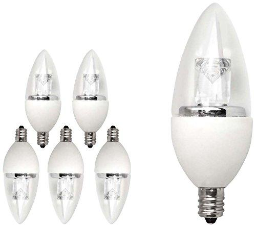 TCP LDCT5W50K6 LED Torpedo - 40 Watt Equivalent (5W) Daylight (5000K) Dimmable Candelabra Base Light Bulb - 6 Pack