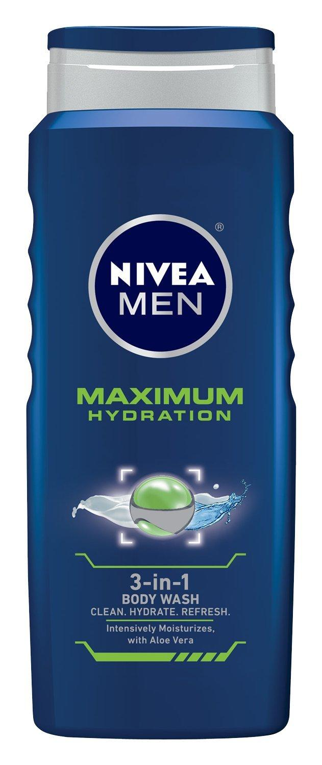 NIVEA MEN Maximum Hydration 3-in-1 Body Wash with Aloe Vera, 16.9 oz Bottle (Pack of 3)