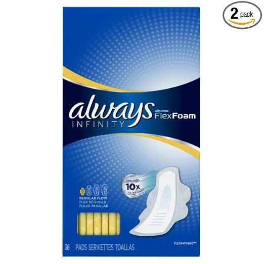 Always Infinity Flex Foam Unscented Pads with Wings, Regular Flow, 36 Count (Pack of 2)