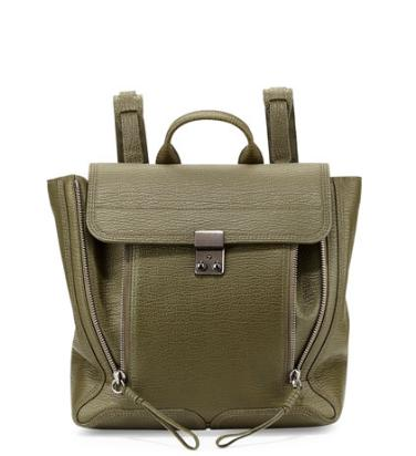 3.1 Phillip Lim Pashli Leather Zip Backpack, Military @ Neiman Marcus