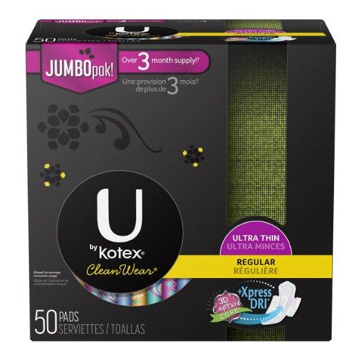$6.76 U by Kotex CleanWear Ultra Thin Regular Pads with Wings, Unscented, 50 Count