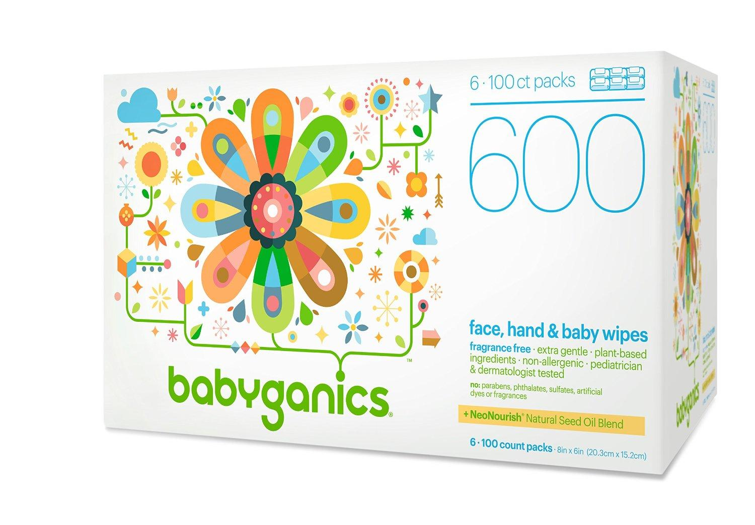 Babyganics Face, Hand & Baby Wipes, Fragrance Free, 600 Count, Prime members only