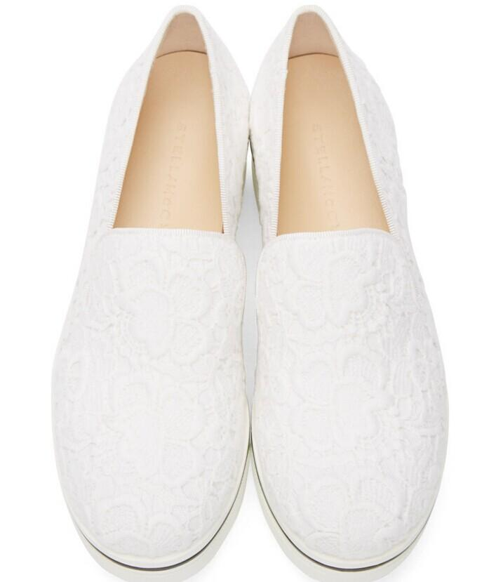 Stella McCartney  White Lace Platform Binx Sneakers  @ SSENSE