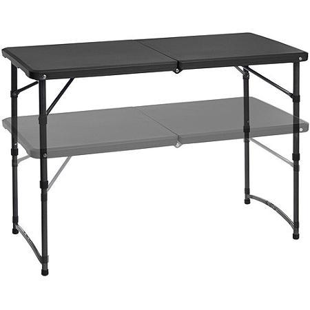 22.67 Mainstays Adjustable Folding Tailgating Table (Black Only)