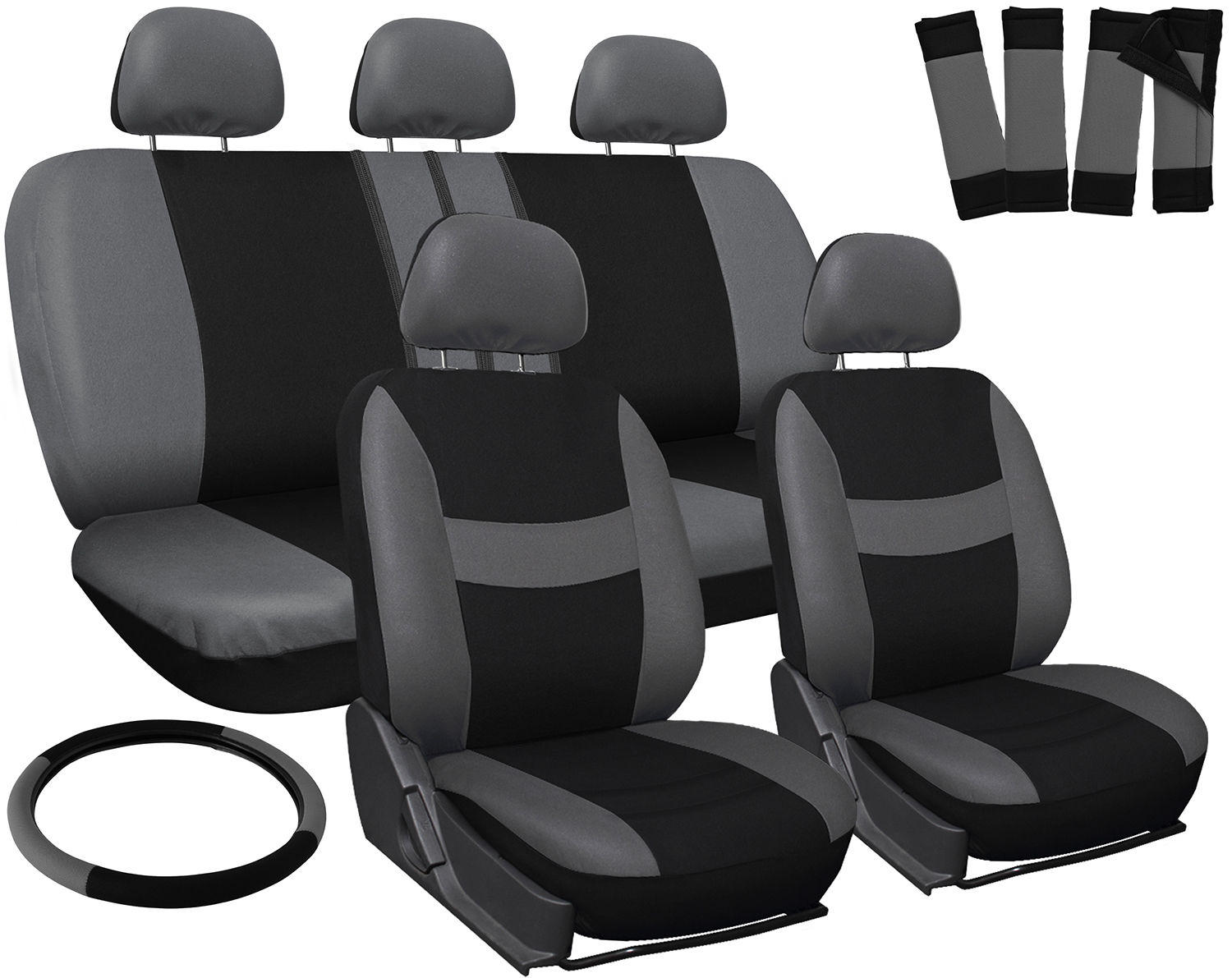 $24.95 17pc Set Red Gray Black Auto Car Seat Covers