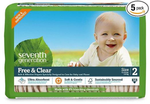 Prime Members Only! 30% + Extra 20% Off Select Seventh Generation Free & Clear Baby Diapers @ Amazon.com