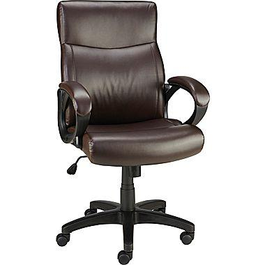 Staples Lewston Faux Leather Chair, Padded Arms, Brown