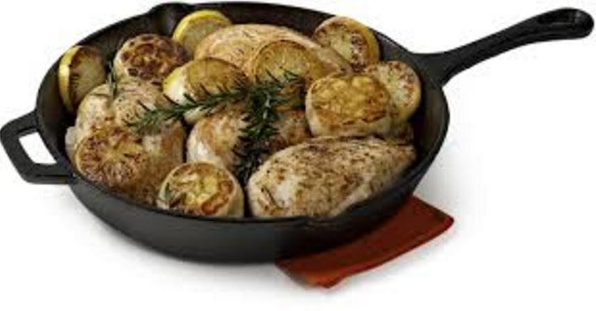 Essential Home Cast Iron 12in Skillet with Helper Handle