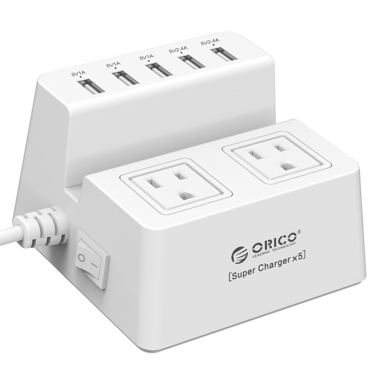 ORICO  USB 5-Port Charger + 2-Outlet Power