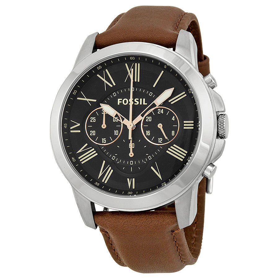 Fossil Grant Chronograph Black Dial Brown Leather Mens Watch